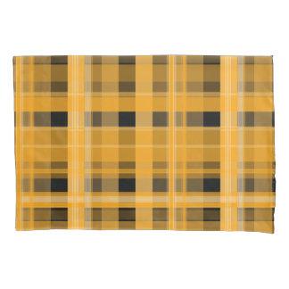 オレンジ格子縞の枕カバー 枕カバー