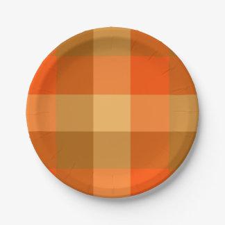 オレンジ格子縞の紙皿 ペーパープレート