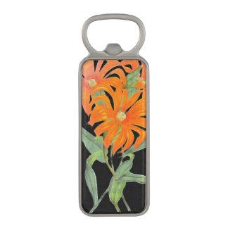 オレンジ植物のヴィンテージの花 マグネット栓抜き