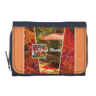オレンジ正方形の写真の秋のテンプレートの紅葉