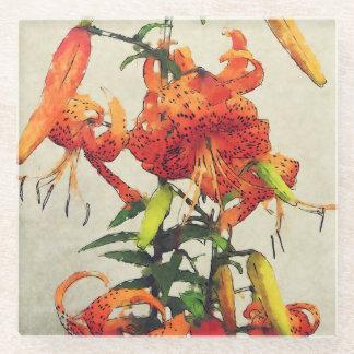 オレンジ水彩画のオニユリ1 ガラスコースター