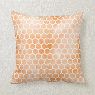 オレンジ水彩画の蜜蜂の巣の枕 クッション