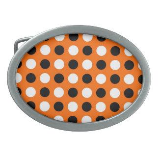 オレンジ水玉模様のベルトの留め金 卵形バックル
