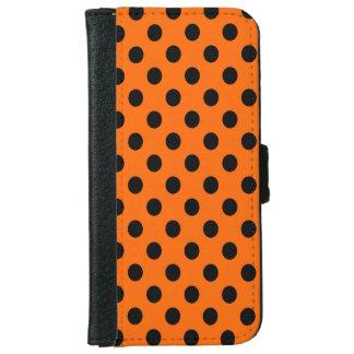 オレンジ水玉模様の黒 iPhone 6/6S ウォレットケース