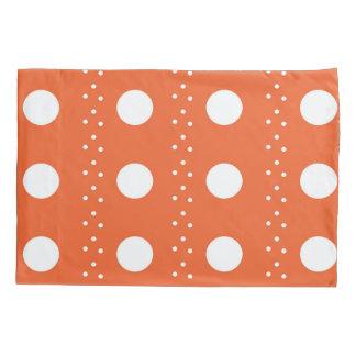 オレンジ水玉模様は縞で飾ります 枕カバー