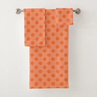 オレンジ水玉模様タオルセット バスタオルセット