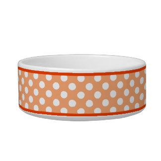 オレンジ水玉模様パターン小さい陶磁器犬ボール ボウル
