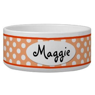 オレンジ水玉模様名前入りな陶磁器犬ボール