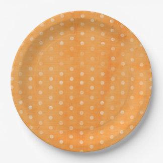 オレンジ水玉模様 ペーパープレート
