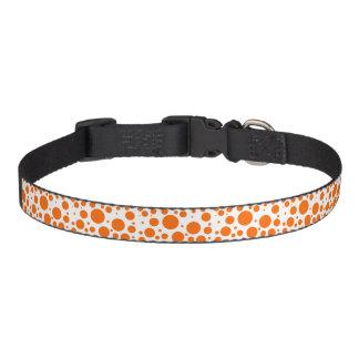 オレンジ水玉模様-抽象的なパターンデザインのおもしろい ペット首輪