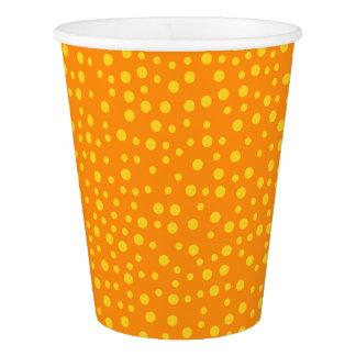 オレンジ水玉模様 紙コップ