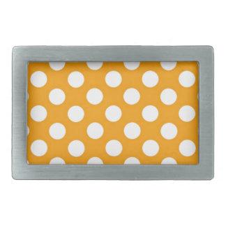 オレンジ水玉模様 長方形ベルトバックル