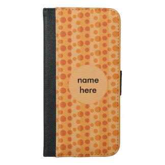 オレンジ水玉模様 iPhone 6/6S PLUS ウォレットケース