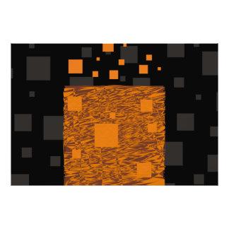 オレンジ注意深い浮遊物の抽象芸術のハロウィンのブラックボックス フォトプリント