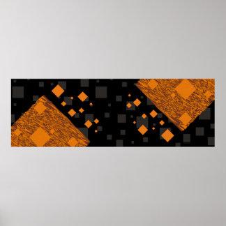 オレンジ注意深い浮遊物の抽象芸術のハロウィンのブラックボックス ポスター