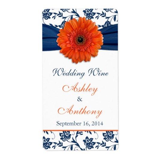 オレンジ海軍デイジーの結婚式のワイン・ボトルのラベル ラベル