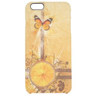 オレンジ渦巻によっては蝶線画開花します クリア iPhone 6 PLUSケース