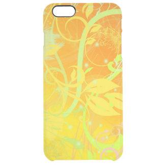 オレンジ渦巻の花および線画 クリア iPhone 6 PLUSケース