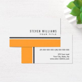 オレンジ灰色のボーダーモダンでスタイリッシュな白 名刺