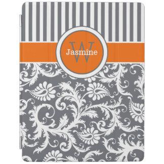 オレンジ灰色白のストライプのダマスク織のiPad 2/3/4カバー iPadスマートカバー