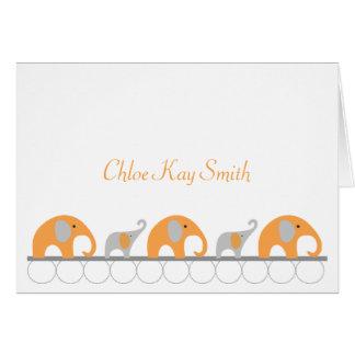オレンジ灰色象のベビーはノートw/photo感謝していしています カード