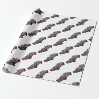 オレンジ炎および黒の70年代筋肉車 ラッピングペーパー