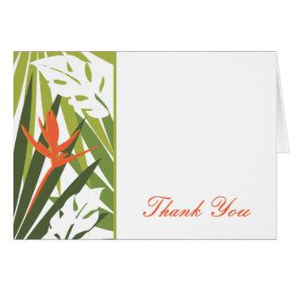 オレンジ熱帯花のサンキューカード カード