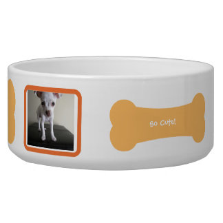 オレンジ犬用の骨の写真の名前入りなペットボウル