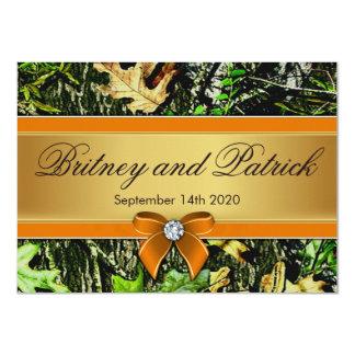オレンジ狩りのテーマの迷彩柄の結婚式招待状 カード
