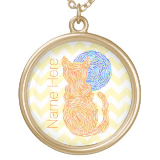 オレンジ猫および名前入りな月の猫好き ゴールドプレートネックレス