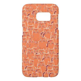 オレンジ猫のかわいい群集 SAMSUNG GALAXY S7 ケース