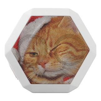 オレンジ猫-サンタクロース猫-メリークリスマス ホワイトBluetoothスピーカー