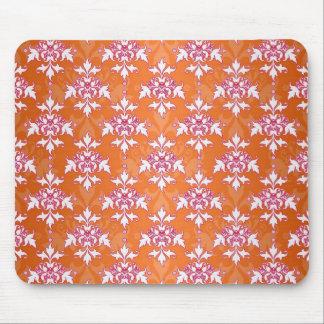 オレンジ白いピンクのダマスク織パターン マウスパッド