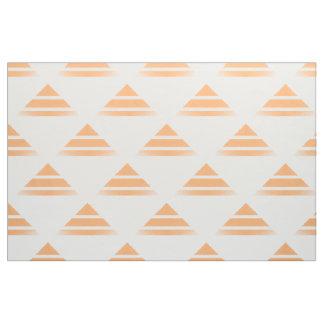 オレンジ白いGeoの三角形パターン生地 ファブリック