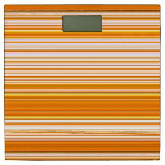オレンジ白く黄色いピンクのストライプパターン 体重計