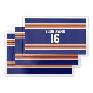 オレンジ白のストライプのチームジャージーが付いている濃紺 アクリルトレー