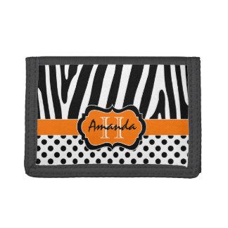 オレンジ白黒のシマウマのストライプのな三つ折り財布