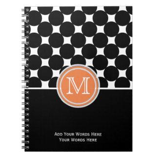 オレンジ白黒のモノグラムのノート ノートブック