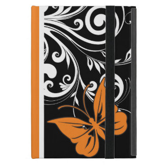 オレンジ白黒蝶華麗さ iPad MINI ケース