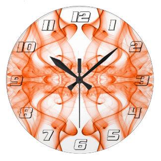 オレンジ着色煙の抽象芸術のシルエット ラージ壁時計
