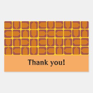 オレンジ矢のステッカー 長方形シール