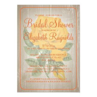 オレンジ素朴な花のブライダルシャワー招待状 カード