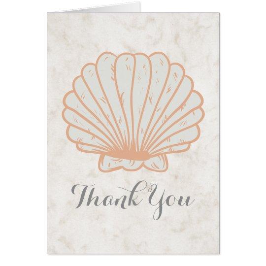 オレンジ素朴な貝殻の結婚式は感謝していしています カード