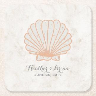 オレンジ素朴な貝殻の結婚式 スクエアペーパーコースター