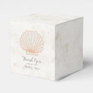 オレンジ素朴な貝殻の結婚式 フェイバーボックス