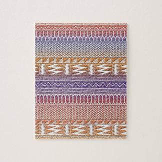 オレンジ紫色のグラデーションなGeoのアステカな種族のプリントパターン ジグソーパズル