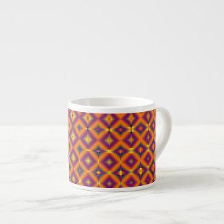 オレンジ紫色のダイヤモンドパターン エスプレッソカップ
