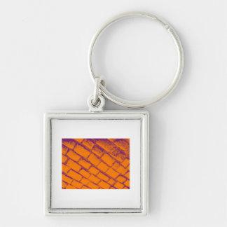 オレンジ紫色の玉石 キーホルダー