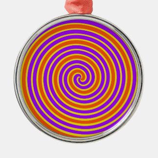 オレンジ紫色の黄色く眩暈がするような螺線形 メタルオーナメント