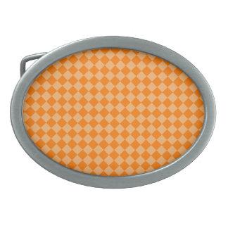 オレンジ組合せのダイヤモンドパターン楕円形 卵形バックル
